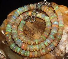 """72 Crts 1 Strands 5 to 8 mm 14"""" Beads necklace Ethiopian Welo Fire Opal S919"""