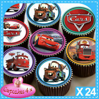 24 x CARS MIXED  CHARACTERS EDIBLE CUPCAKE TOPPERS PREMIUM RICE PAPER C7032