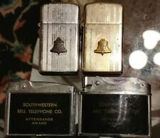 4 Vintage Southwestern Bell Telephone Lighters Perfect Attendance 2, 15, 17 yrs.