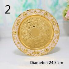 Metal Plate Fruit Dish Alloy Metal Floral Retro Ornament Decoration Gold Round