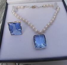 New Huge Elegant 110 carat Topaz & Quartz 10 mm Pearl 14k gold Necklace 15 inch