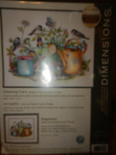 "DIMENSIONS STAMPED CROSS STITCH ""WATERING CANS"" FLOWER BIRD KIT--#70-03243-NIP"