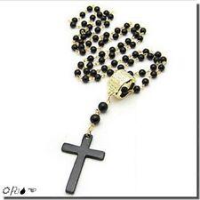 Pendentif Fashion Croix Noire Anneau et Chaîne Métal Doré - Perles Noires 6 mm