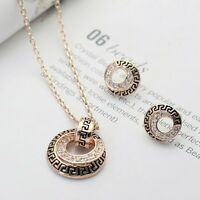 18k Gold Filled Solid Swarovski Crystal Vintage Pendant Necklace / Earring Set