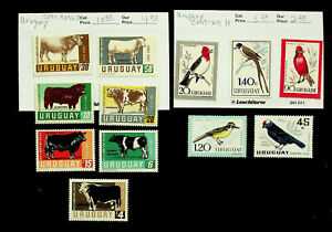 URUGUAY COW BIRDS 12v MH STAMPS CV $16