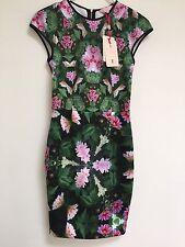 •Ted Baker Flowery Designer Summer Dress  Wedding Party  Size 6 Uk Euro 32