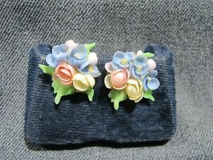 Vintage multicolor real shell flowers & leaves screw back earrings  #c