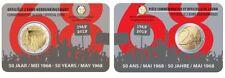 2 x 2 Euro Gedenkmünze BELGIEN 2018 Coincard (NL & FR) Studentenrevolte 1968
