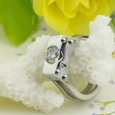 Stainless Steel Polished Handcuff ring 5mm CZ assorted colors & sizes