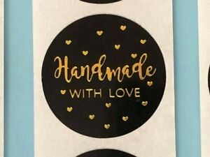 Handmade with love stickers/labels black round 25mm Business Wedding Gift Craft