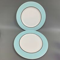 Pagnossin Treviso Robin Egg Blue Brown Ironstone Chop Charger Plates Lot of 2