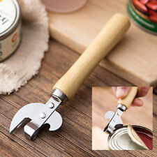 Manual Stainless Steel Can Opener Side Cut Wooden Handle Tin Jar Bottle Opener