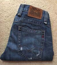 Mens Replay MV950A indigo blue distressed straight leg denim jeans W 30 L 30