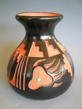 KINLICHENI Vase Polychrome  Navajo Bear Claw and Prayer Feathers by Hanna Jay
