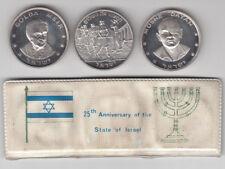 1973 Israel 25th Anniversary M. Dayan & Golda Meir 3 Silver Medals 37mm 22g each