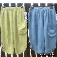 Plus Size Italian Lagenlook 1 Pocket Cropped 3/4 Baggy Linen Crop Pants Trousers
