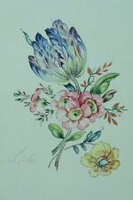 Beau tableau ancien Jeté de Fleurs st. Redouté aquarelle Botanica Tulipe tulip