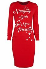 Women Christmas Long Sleeve Naughty Girls Get More Presents Ladies Bodycon Dress