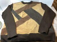Retro Robert Louis Men's XL Leather Suede Patchwork 3 Color Sweater Browns