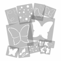 "14 x Reusable Plastic Stencils // Butterfly - Meadow // 13.4"" to 3.5"" // KIDS"