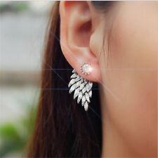 2017 Lady Rhinestone Crystal Ear Stud Fashion Gothic  Angel Wings silver Earring