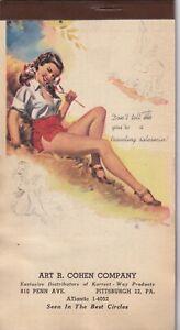FREEMAN ELLIOTT - aug 1950 art illust. PIN-UP/CHEESECAKE  calendar note pad card