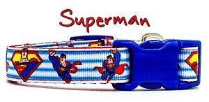 "Superman dog collar handmade adjustable buckle collar 5/8"" wide or leash Movie"