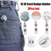 3 PCS Retractable Nurse Badge Reel Clip Sky Marble Pattern ID Card Badge Holder