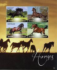 Ghana 2015 MNH Horses 4v M/S II Friesian Thoroughbred Andalusian Arabian Horse
