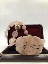 STUNNING VTG CHINESE EXPORT STERLING CARVED ROSE QUARTZ IMPORTNT NECKLACE CHOKER