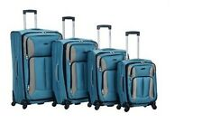 Rockland Four-Piece Impact Spinner Luggage Set Turquoise NEW Carry-On Suitcase