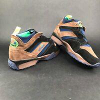 Vintage Ellesse Mens 9.5M Suede Leather Black Brown Blue Green Hiking Shoes NWT