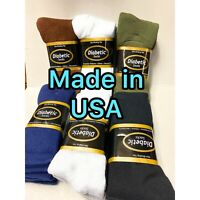 USA Made 3 Pair Non-Binding Top DIABETIC Colors Crew Sock Size10-13 Shoe S. 6-12