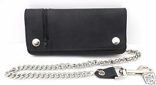 "Biker Chain Wallet BiFold Outside Zipper Pocket Black Leather 8"" USA Made"