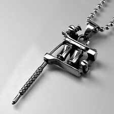 silver tattoo machine needle pendant stainless steel ball chain necklace solid