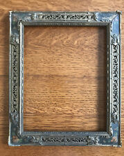 """Antique Picture Frame Wood Metal Inset Ornate Floral Painted Corners c. 10x12"""""""