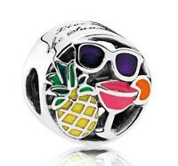 S925 Sterling Silver Sunshine Summer Fun Enamel Charm Bead Fit European Bracelet
