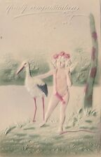 Postcard Hearty Congratulations Embossed cupid with Stork Divided Back Unposted