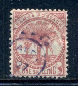 SAMOA 18 SG25 Used 1886 1sh rose carmine Palm Trees Perf 12&1/2 Cat$14