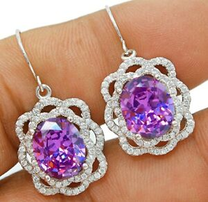 6CT Amethyst & White Topaz  925 Solid Sterling Silver Earrings Jewelry