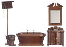 DOLLHOUSE MINIATURES 4 PC OLD FASHIONED WALNUT BATHROOM SET #T6305