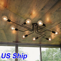 Retro Industrial Ceiling Chandelier Steampunk Lamp Mount Light Fixture US Ship