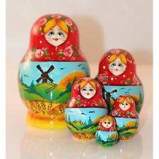 Russian Nesting Dolls Matryoshka 5 Pcs Windmill Signed New