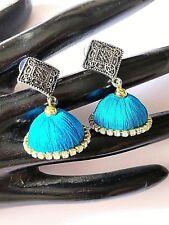 silver Oxidized blue silk thread Jhumka Jhumki Teen Girls Indian earrings