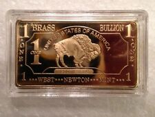 Lot Of 3 X ONE 1 Ounce (OZ) Buffalo Pure Brass Bullion Art Bar Ingot
