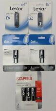 Set of 5 Assorted Flash Drives Lexar 64 GB( Qty 2) Quill.com 64 GB (Qty 2) & ...