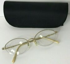 ELLE Goldtone Wire Metal Half Rim Oval E Eyeglasses frames RX 52 18 140 EL2579