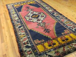 "Beautiful 1900-1939 Antique Multi-Colored,Wool Pile Tribal Rug 4'8"" x 9'"