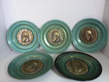 Vintage Lot 5 Theodor Hertzel 3D Copper Bronze Wall Plates Plaques Judaic Israel