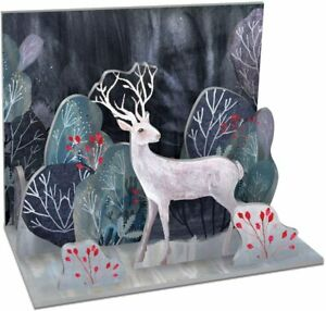 La Borde Silver Stag Frosty Forest Pop & Slot Christmas Decoration Diorama